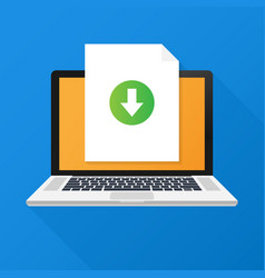 Laptop and download file icon document vector