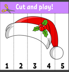Learning numbers 1-5 cut and play santa claus hat vector