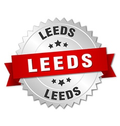 Leeds round silver badge with red ribbon vector