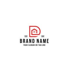 Letter d home logo design vector