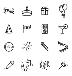 line birthday icon set vector image