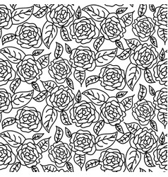 line rose wedding seamless pattern vector image