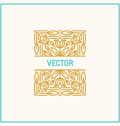 Linear frame and floral background with copy space vector