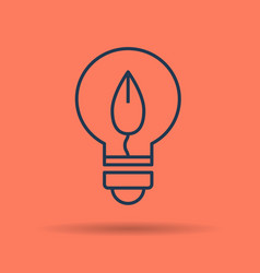 linear icon of eco lamp bulb with leaf vector image