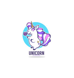 little cute unicorn holding a candy vector image