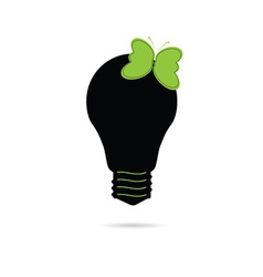 lugtbulb with buttterfly green vector image