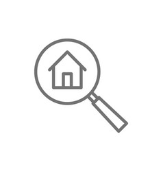 Magnifying glass with house apartment search line vector