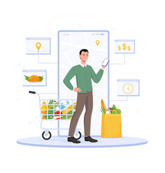 Male character is using online supermarket on his vector