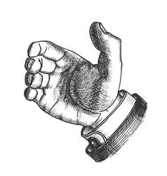Male hand make gesture palm finger doodle vector