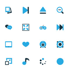 Media colorful icons set collection amplifier vector