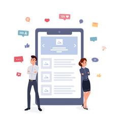 Mobile application developer team working concept vector