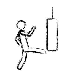 Monochrome sketch man kicking a punching bag vector
