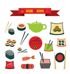 multicolored icons with tape on topic sushi vector image