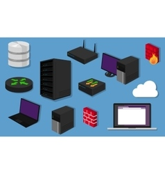 Network topology LAN objects icon design router vector