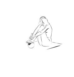 Nude girl with ball vector