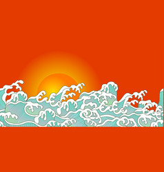 ocean wave and sunset vector image