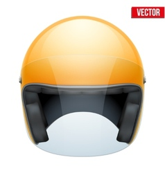 Orange motorbike classic helmet with clear glass vector image