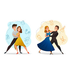 Pair dance 2 templates set vector