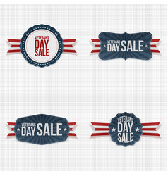 Patriotic veterans day emblems with ribbons vector