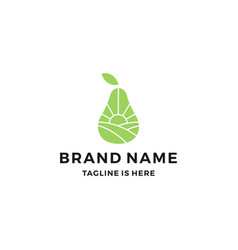 Pear orchard garden landscape field logo icon vector