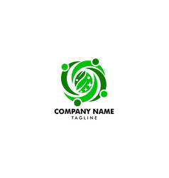 people group leaves team logo design vector image