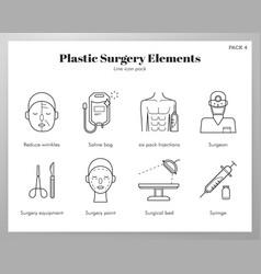 Plastic surgery elements line pack vector