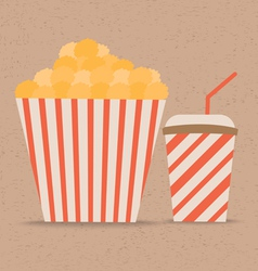 Popcorn and soda with straw vector