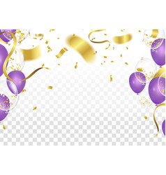 Purple balloons and confetti party of a party vector