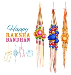Raksha Bandhan background with rakhi and gift vector image