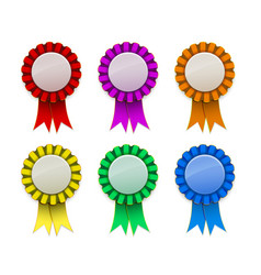 Ribbon award badge red green blue yellow magenta vector