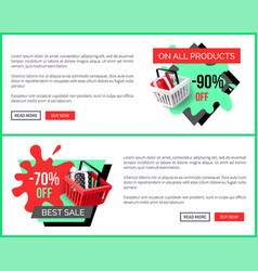 sale on all products 90 percent shop discounts vector image