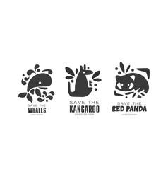 save wild animals logo design set protection vector image