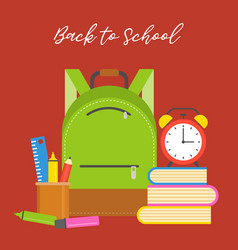 school bag icon and supplies flat design vector image