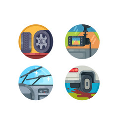 set auto icons vector image
