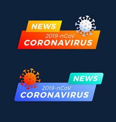 Set breaking news headline covid-19 vector