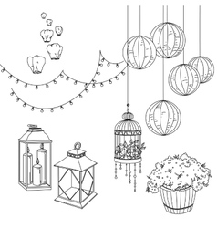Set of wedding decorative elements and attributes vector