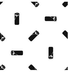 Shawarma sandwich pattern seamless black vector