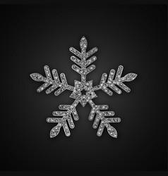 Silver glitter snowflake vector