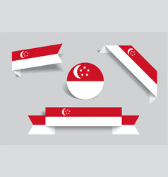 singapore flag stickers and labels vector image