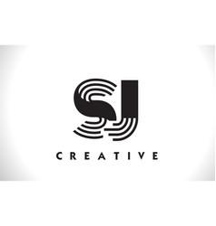 sj logo letter with black lines design line letter vector image