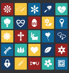 Spring icons set on color squares background for vector