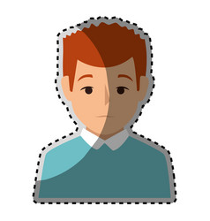Sticker colorful half body man with t-shirt vector
