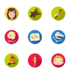 Stone age set icons in flat style Big collection vector image