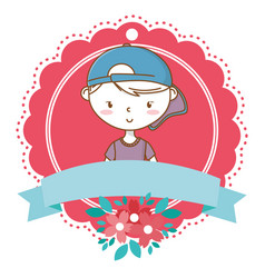 stylish boy cartoon outfit portrait floral frame vector image