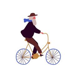 stylish elderly man riding bicycle flat vector image