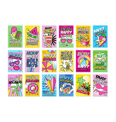 summer poster set hello summer hawaii enjoy vector image