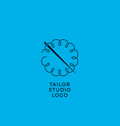 Tailor sewing workshop emblem vector