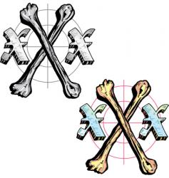 tattoo style letter x with vector image