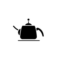 teapot black icon sign on isolated vector image