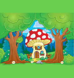 tree theme with mushroom house vector image
